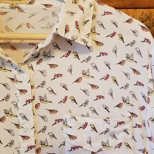 Anthropologie Tops - Anthropologie Love Notes Little Bird Tie Top XL